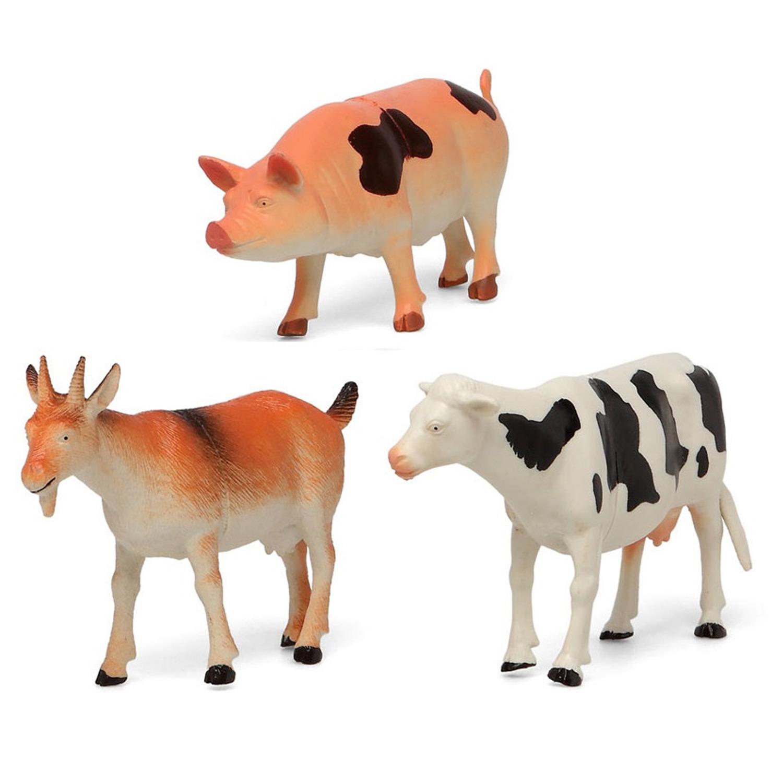 3x Plastic boerderijdieren speelgoed figuren voor kinderen