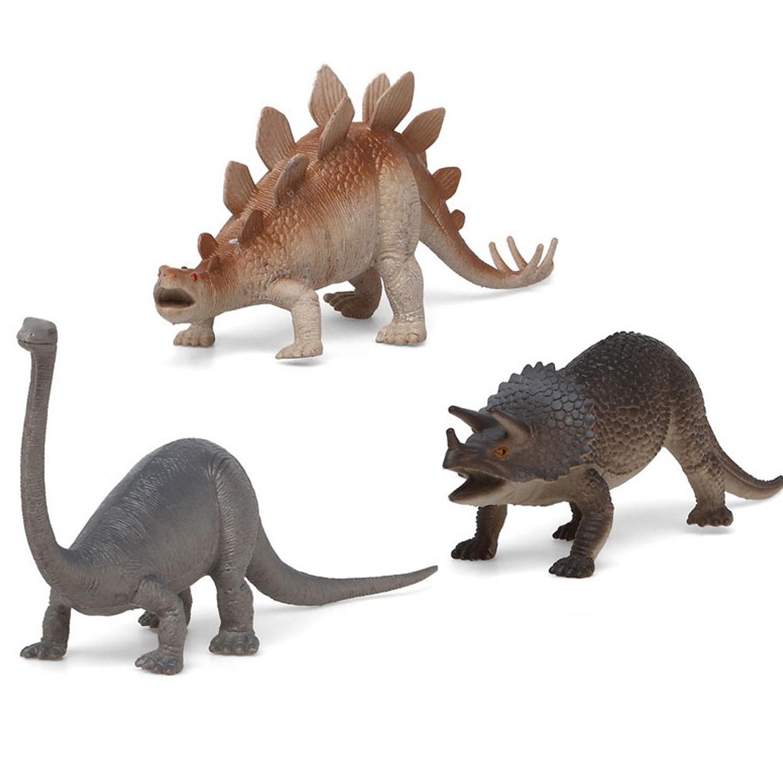 3x Plastic dino speelgoed figuren voor kinderen