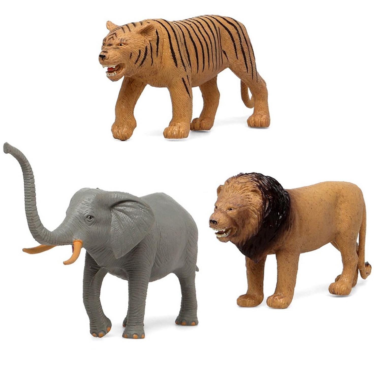 3x Plastic safaridieren speelgoed figuren voor kinderen