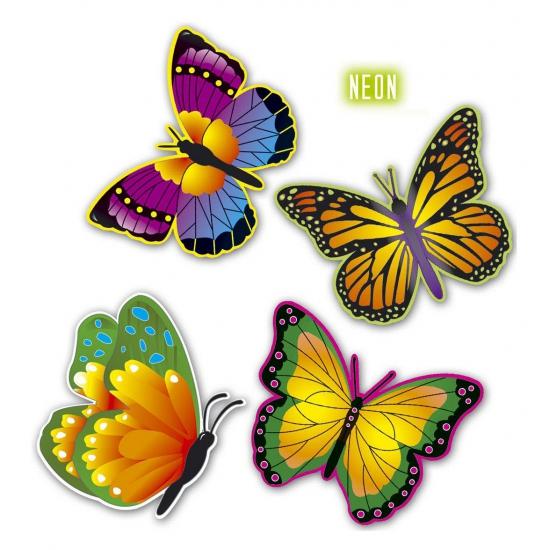 4 Vlinders versiering 4 stuks karton 34