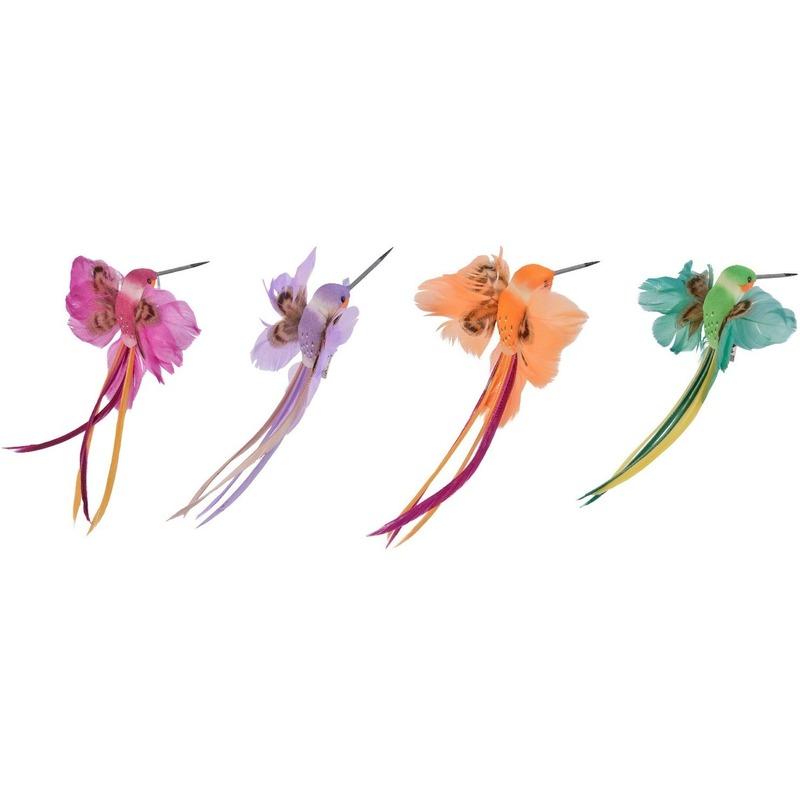 4x Decoratie vogeltjes roze/paarse/oranje/groene kolibrie 15 cm op clip met echte veren