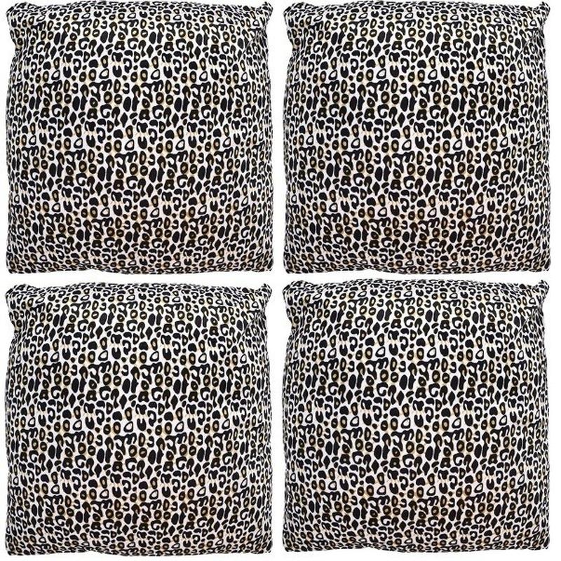 4x Sierkussentjes met cheetah print 45 cm