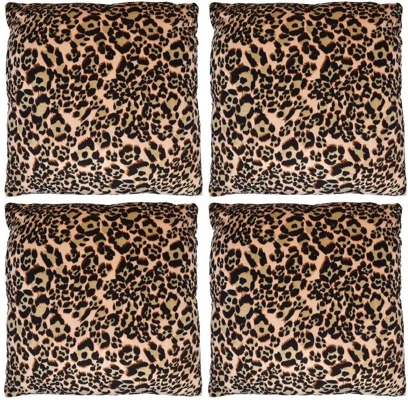 Afbeelding 4x Sierkussentjes met panter print 45 cm door Animals Giftshop