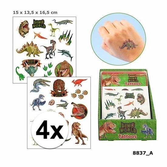 4x Tatoeages dinosauriers voor jongens 4 vellen
