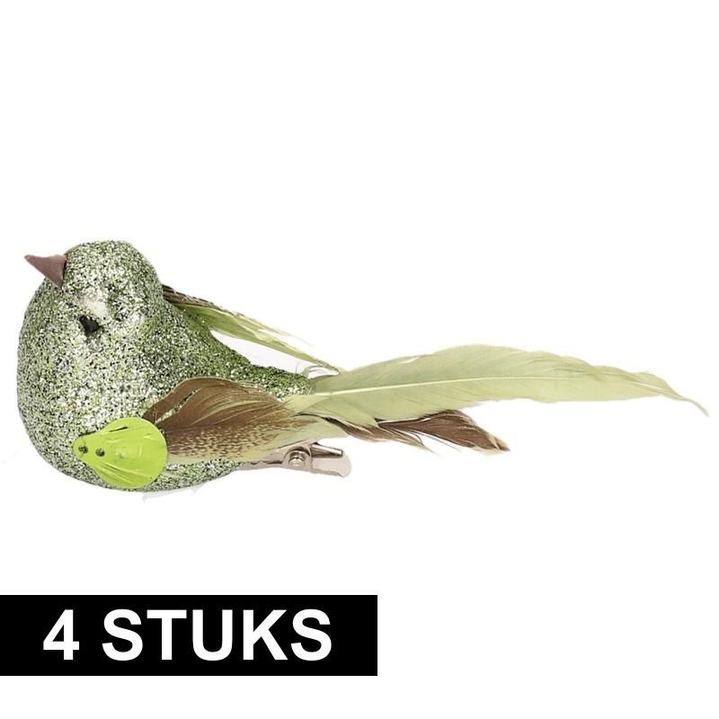 4x Vogel op clip groen 10 cm