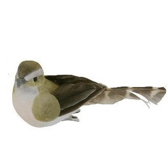 4x Vogel op clip groen/wit 9 cm