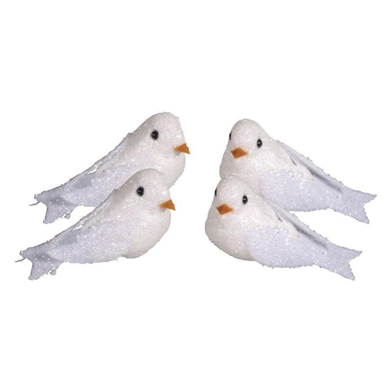 4x Witte decoratie duifjes met glitters 5 cm