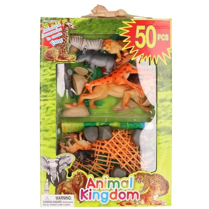 50x Plastic safari dieren/wilde dieren speelfiguren