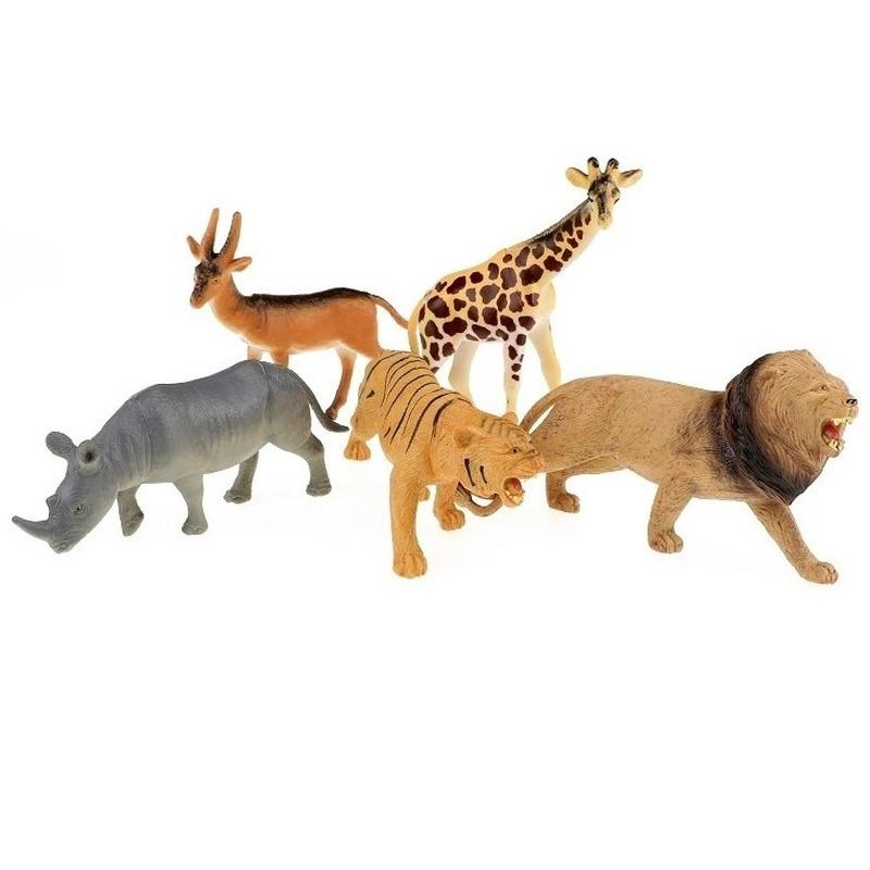 5x Plastic safaridieren figuren speelgoed
