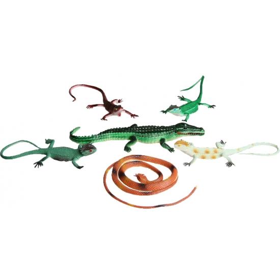 6 delige speelset plastic reptielen