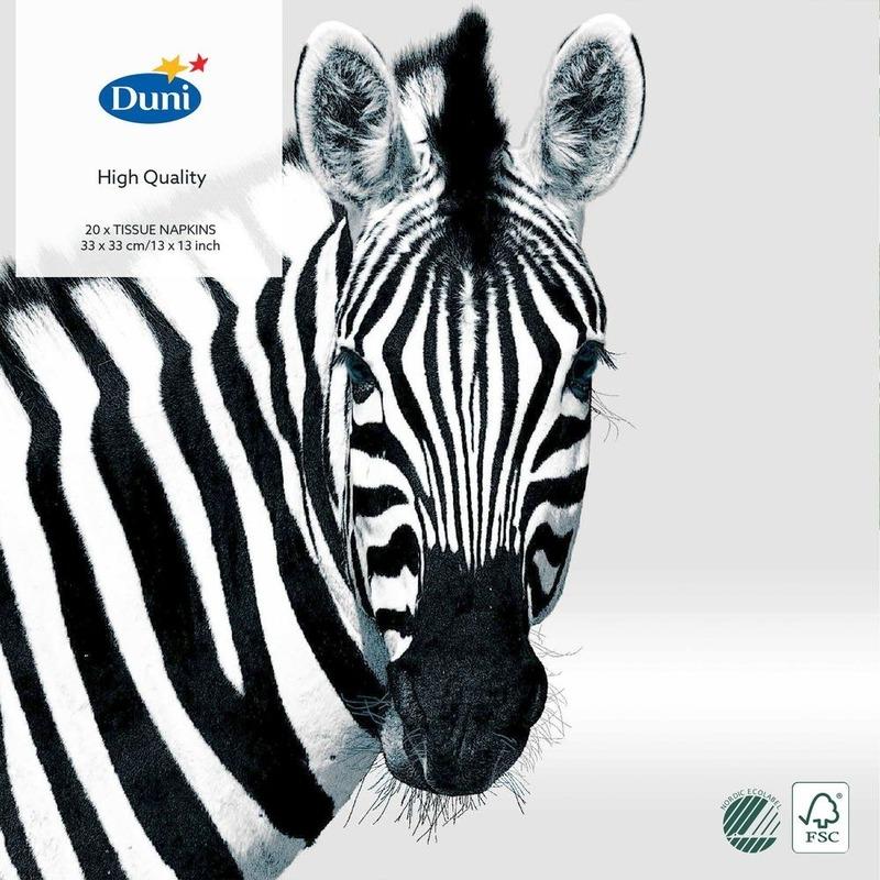 60x Design decoratie servetten 33 x 33 cm zwart/wit met Zebra print
