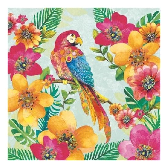 60x Servetten tropische papegaai print 3 laags