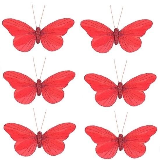 6x Decoratie vlinders op clip rood 11 cm