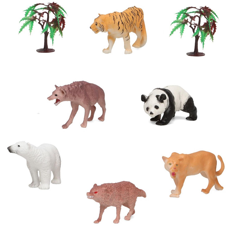 6x Plastic safaridieren speelgoed figuren voor kinderen