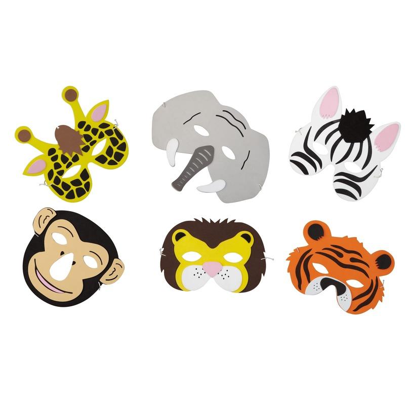 6x Verkleed/feest safaridieren maskers foam voor jongens/meisjes/kinderen