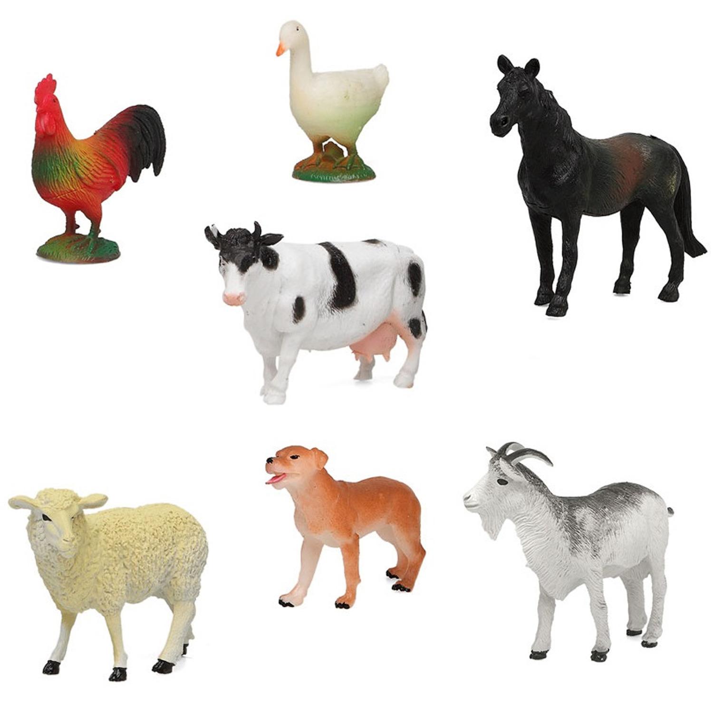7x Plastic boerderijdieren speelgoed figuren voor kinderen