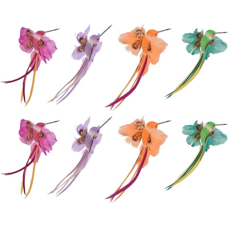 8x Decoratie vogeltjes roze/paarse/oranje/groene kolibrie 15 cm op clip met echte veren