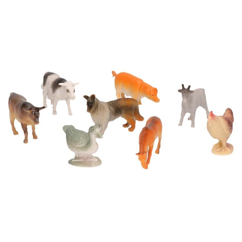 8x Plastic boerderijdieren figuren speelgoed