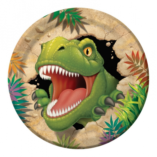 8x stuks Dinosaurus t-rex kinder verjaardag bordjes 23 cm