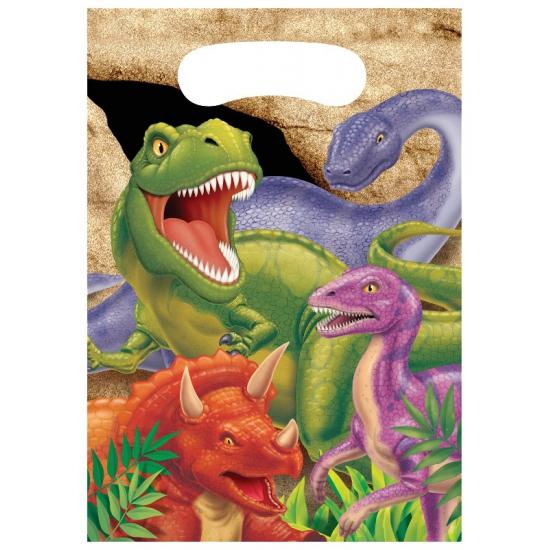 8x stuks Dinosaurus thema feestzakjes/cadeauzakjes