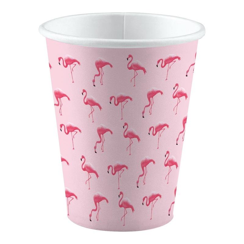 8x stuks Flamingo vogels thema feest bekers 250 ml