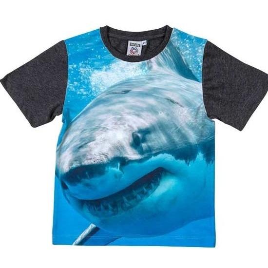 All-over print t-shirt met haai voor kinderen