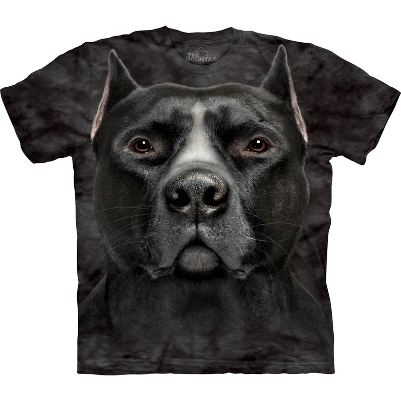 All-over print t-shirt met Pitbull hond