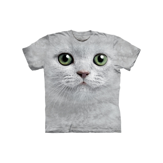 All-over print t-shirt witte kat