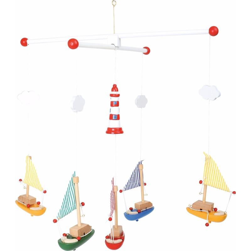 Baby decoratie mobiel met zeilboten 39 cm