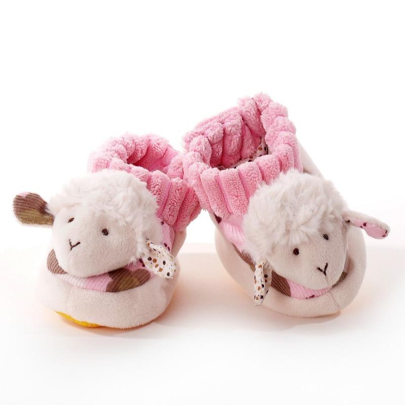 Afbeelding Babyslofje schaaplammetje wit/roze 0-10mnd door Animals Giftshop