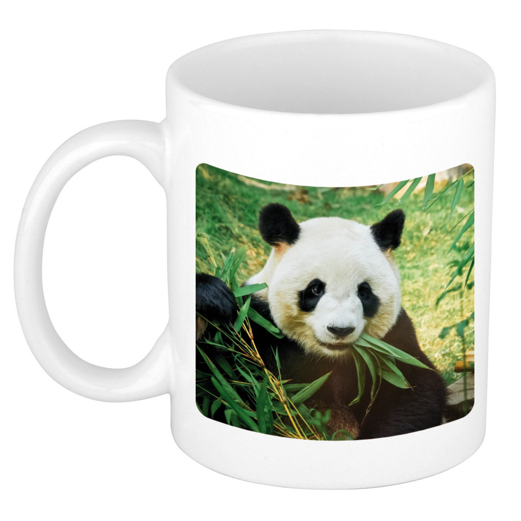 Bamboe etende panda koffiemok / theebeker wit 300 ml voor de natuurliefhebber