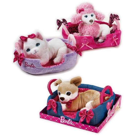 Barbie witte poedel knuffel in mandje
