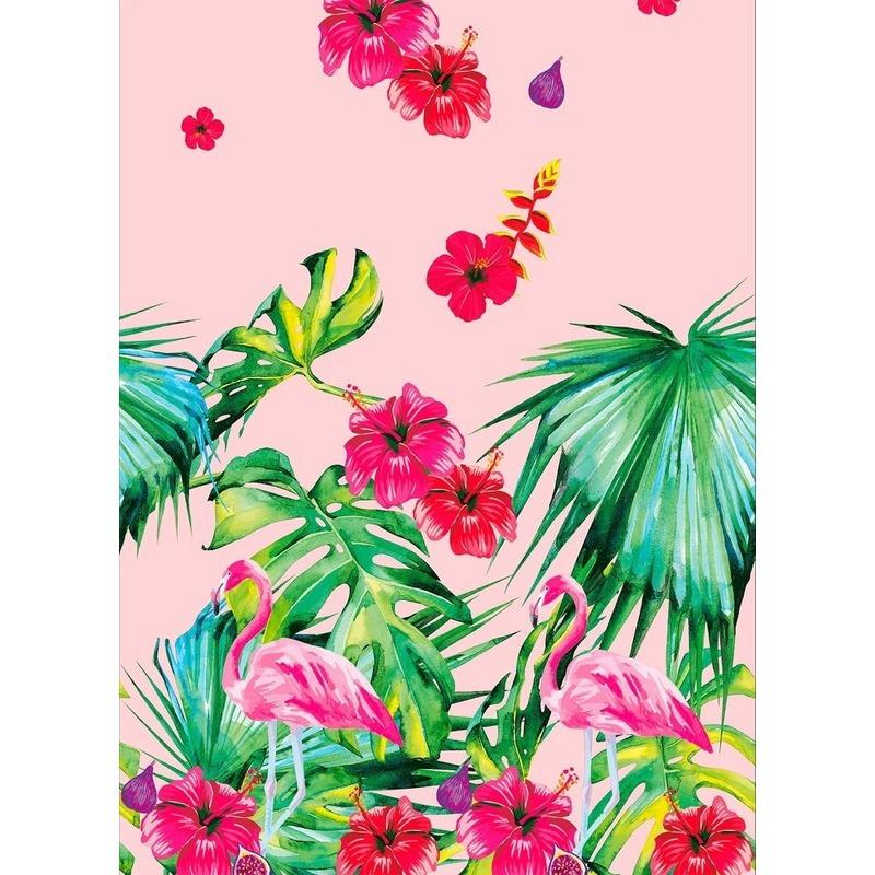Afbeelding Bbq decoratie tafelkleed/tafellaken 138 x 220 cm roze/groen met flamingo print door Animals Giftshop
