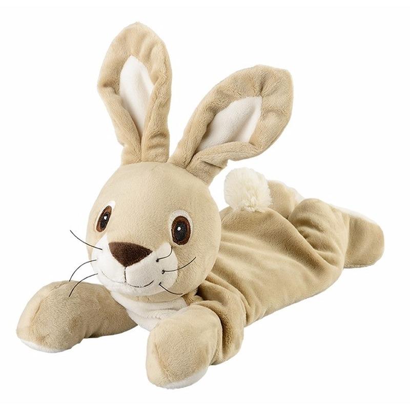 Beige konijnen/hazen heatpack/coldpack knuffels 35 cm knuffeldieren