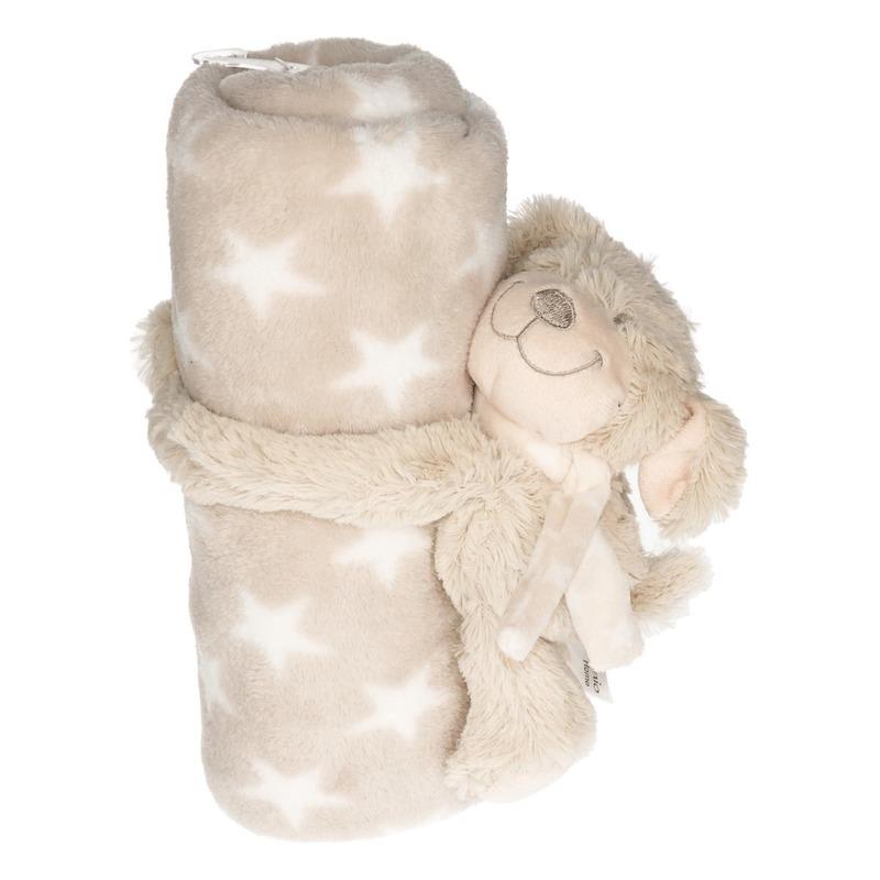 Afbeelding Beige/witte sterrenprint deken 100 x 75 cm met klittenband hond knuffel door Animals Giftshop