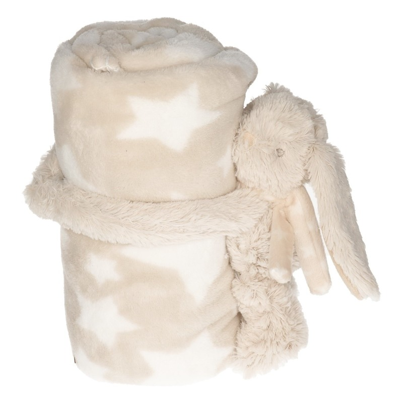 Beige/witte sterrenprint deken 100 x 75 cm met klittenband konijn/haas knuffel