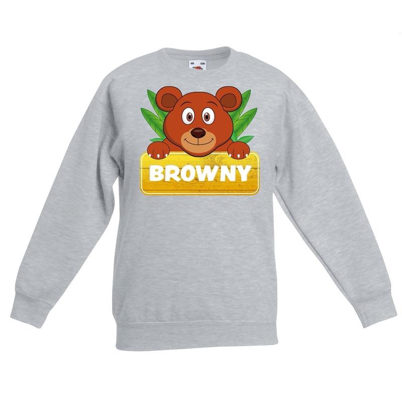 Beren dieren sweater grijs voor kinderen
