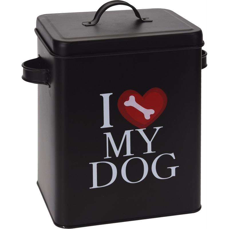 Bewaarblik voor hondenvoer zwart klein