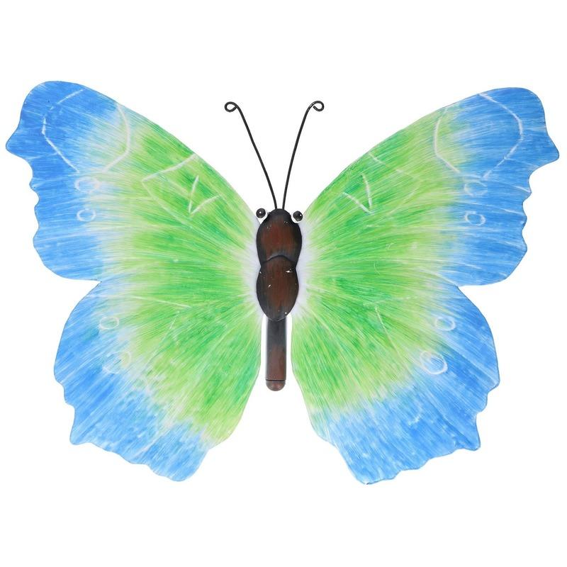 Blauw-groene tuindecoratie vlinder 40 cm