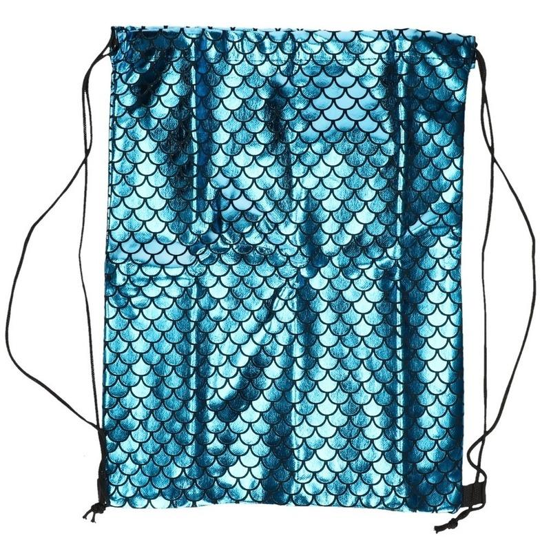 Blauw gymtasje met zeemeermin schubben print