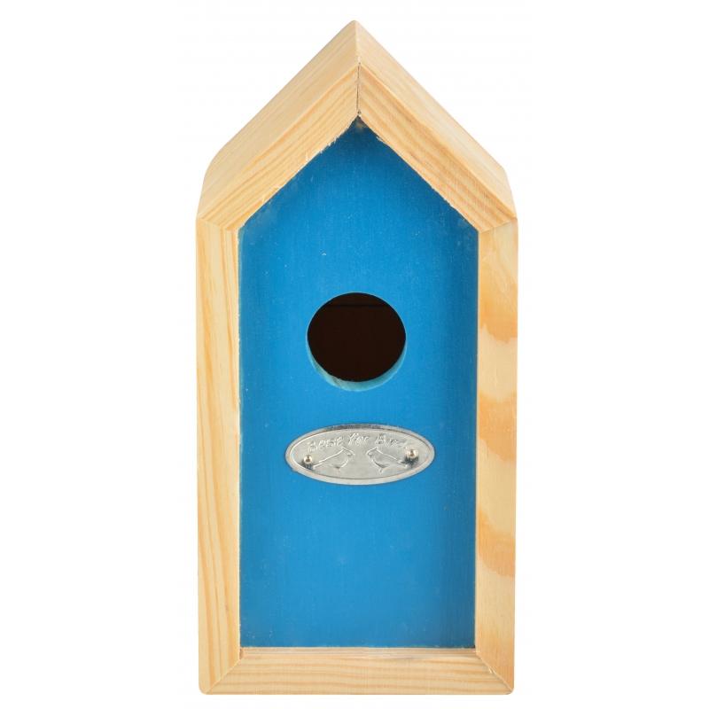 Blauw nestkastje voor kleine tuinvogels 10x11x20 cm
