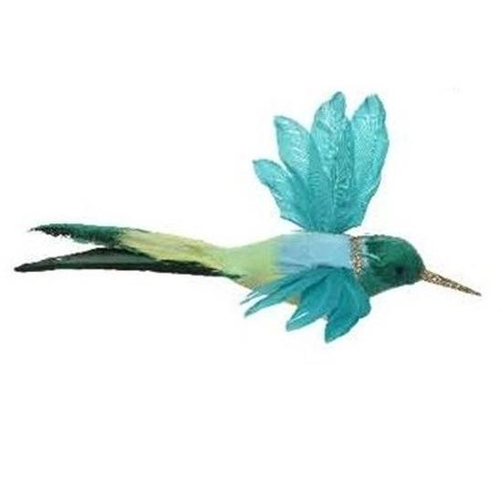 Blauwe kolibrie vogel op clip 15 cm