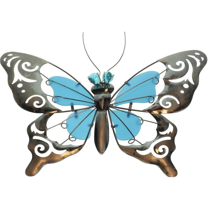 Blauwe metalen tuindecoratie vlinder 35 cm glow in the dark