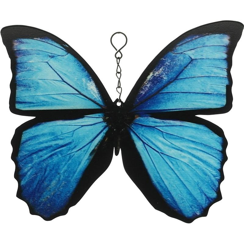 Blauwe-zwarte metalen tuindecoratie Morpho menelaus vlinder 20 cm