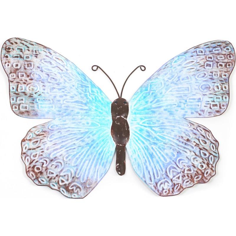 Blauwe-zwarte metalen tuindecoratie vlinder 39 cm