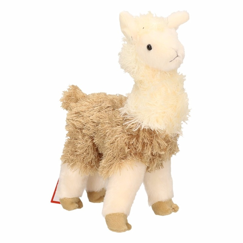 Afbeelding Boerderijdieren knuffel lama wit/bruin 28 cm door Animals Giftshop