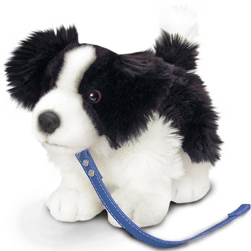 Border Collie/schaapsherder honden knuffeldier 30 cm met hondenriem