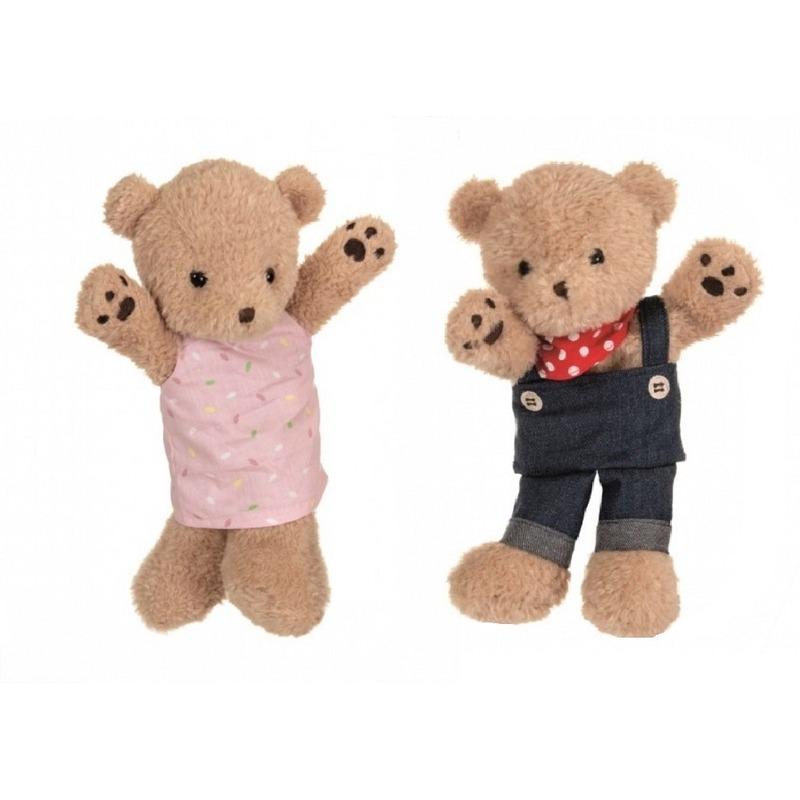 Broer en zus bruine beren handpoppen knuffels 24 cm knuffeldieren