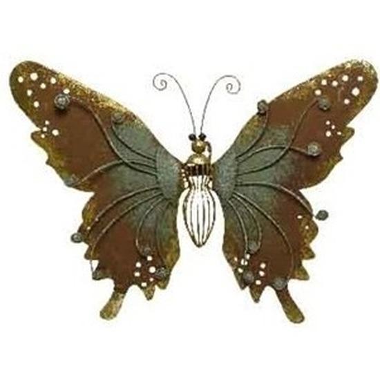 Brons-groene tuindecoratie vlinder 36 cm