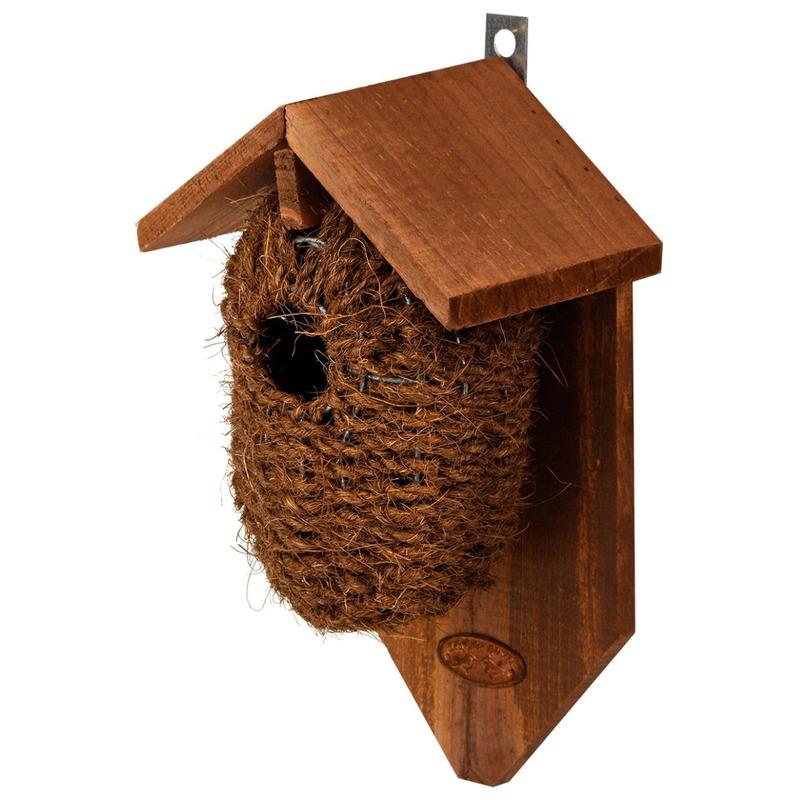 Bruin vogelhuisje voor kleine vogels 26 cm